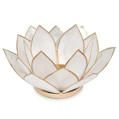 LOTUS white metal pearlescent candle ...
