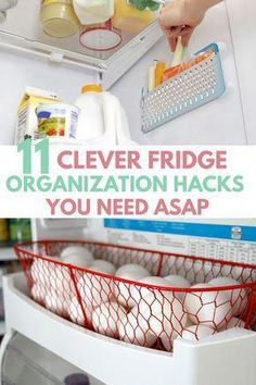 Awesome DIY FREEZER REFRIGERATOR ORGANIZATION HACKS, makeover ideas for extra storage space. All fits perfect with dollar store containers, bins, mason jars in small apartment mini fridge, side by side / French door fridge.