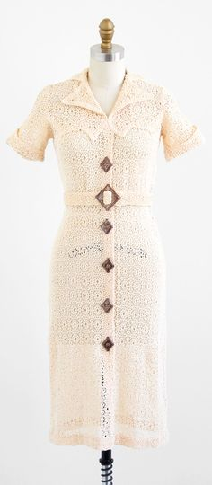 vintage 1930s creamy knit dress   art deco dresses   www.rococovintage.com