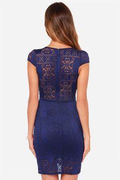 Кружева-х годов ночь синий кружевном платье в Lulus.com!