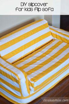 Carissa Miss: DIY slipcover for kids flip sofa #creativebuzz