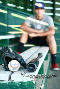Replace glove and bat with helmet and football  Baseball Senior Guy Session