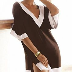 1b771e41c7 Brown and white fashion beach clothes deep v-neck sexy swimsuit cover ups  women brand beach wear dress