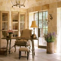 Breathtaking French country interior design in an office with reclaimed ancient limestone from France, lantern, linen, and rustic European antiques - Chateau Domingue. French Country Interiors, Country Interior Design, French Farmhouse Decor, French Country Living Room, French Interior, Farmhouse Interior, French Decor, French Country Decorating, Farmhouse Style