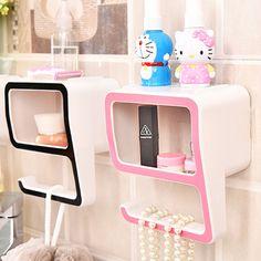 E-SHOW Number Nine Shaped Makeup Storage Box Plastic Bathroom Soap Dish Toiletries Holder Commodity Shelf Cosmetic Organizer