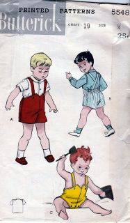 Butterick 5548; ca. 1950's; Toddlers' Two-Piece Suit: (A) Short pants with suspenders, elastic at the waist in back. Button front shirt has a Peter Pan collar and short sleeves. (B) Shirt has long, cuff sleeves. (C) Bias tape trimmed sun-suit, with bib-top, opens at the crotch.  Trimmed/Complete  FREE U.S. Shipping