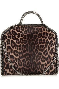 Stella McCartney Falabella leopard-print faux calf hair shoulder bag  694be3a9e06e6