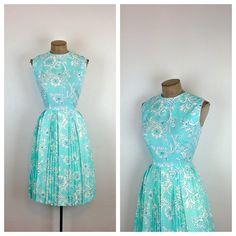 60s Light Blue Floral Dress / 1960s Sleeveless by MotherOfVintage,