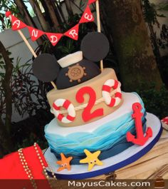 Nautical Mickey Mouse Cake