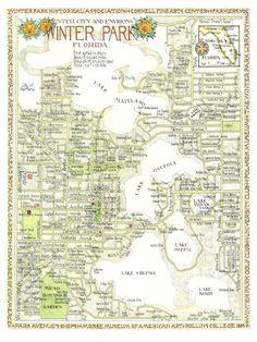 Winter Park, Florida Map 12x16 print from original drawing. $25.00, via Etsy.