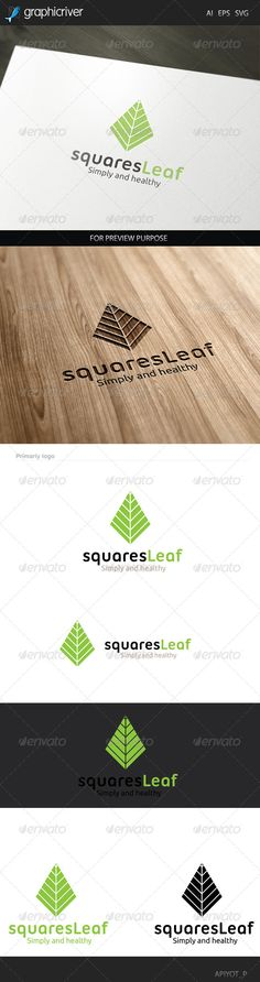 Squares Leaf Logo — Vector EPS #landscaping #green • Available here → https://graphicriver.net/item/squares-leaf-logo/8433432?ref=pxcr