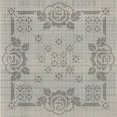 Professione Donna: Schemi per il filet: Centro quadrato con le rose