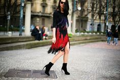 Fringe Skirt Street Style, photo from blogdathais.com