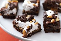 Chocolate-Peanut Butter Mallow Bars recipe.  Another favorite, put them in muffin cups if serving at a party it is easier to grab the marshmallow cream is pretty gooey.