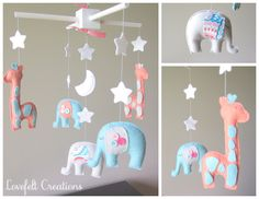 Baby mobile elephant mobile nursery mobile by LoveFeltXoXo