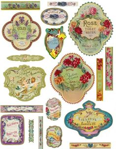 The labels used in the example pictures are made with some of my other perfume label sheets but I added them just to give you an idea of what Vintage Labels, Vintage Ephemera, Vintage Cards, Printable Vintage, Vintage Pictures, Vintage Images, French Vintage, Printable Labels, Printables