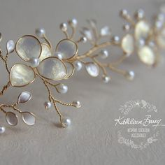Handmade Wedding Bridal hair accessories and jewelry by KathleenBarryJewelry Browse unique items from KathleenBarryJewelry on Etsy, a global marketplace of handmade, vintage and creative goods. This Gold Champagne Bridal hair vine iridescent pearl leaves Diy Accessoires, Bridal Hair Vine, Wedding Veils, Bridal Headpieces, Bijoux Diy, Wedding Hair Accessories, Wedding Jewelry, Handmade Wedding, Etsy Vintage