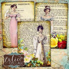 Jane Austen Collage Sheet Printable Ephemera Digital Tags