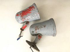 Vintage Pemco Lights / Industrial Decor Gas lights barn lights chippy paint by MadisonMarketHouse Etsy / industrial vintage decor organization and storage fixer upper farmhouse style Joanna Gaines American pickers industrial lighting
