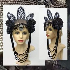 Tribal Fusion Headdress - Goth Crown - Fantasy, Festival Headpiece with Black Roses Belly Dance Belt, Tribal Belly Dance, Headdress, Headpiece, Festival Costumes, Black Roses, Tribal Fusion, Silk Roses, Silk Painting