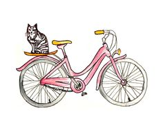 Kitten Bike 8x10 Art Print Pink Bicycle Cat by bonjourfrenchie