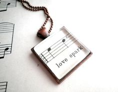 Necklace with vintage sheet music  Antiqued copper by GildedNotes, $26.00