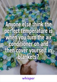 Anyone else think the perfect temperature is when you turn the air conditioner on and then cover yourself in blankets?