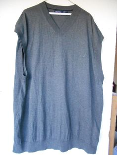 Nautica Sleeveless Sweater Vest V Neck Cotton /Modal  Size 4XL 4X Grey Soft  #Nautica #Vest
