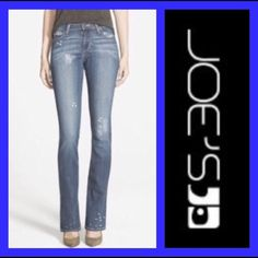 "JOE'S JEANS: Premium collection - size 28 Premium collection Cobain Vintage 1971 Rock low rise boot cut. These only have the back tag still attached!!!!! NEVER worn!!! Inseam: 32"", Rise: 7"", Leg opening: 17"". They measure 14"" across the waist when laying flat. They have distressed back pockets.. The left back pocket has an embroidered rose hidden underneath😉 Joe's Jeans Jeans Boot Cut"