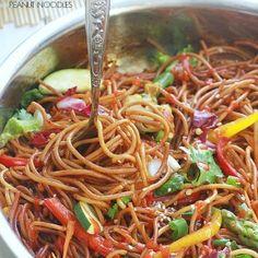 Rainbow Asian Skillet Peanut Noodles