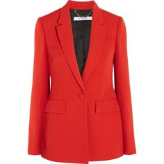 Givenchy Blazer in red grain de poudre wool (3 594 AUD) ❤ liked on Polyvore featuring outerwear, jackets, blazers, red, blazer jacket, red jacket, woolen jacket, wool blazer and wool jacket