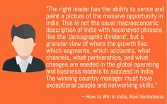 The key to success in business is right leadership.Learn leadership qualities from 'Win in India, Win Everywhere' by our speaker Ravi Venkatesan http://outstandingspeakersbureau.in/