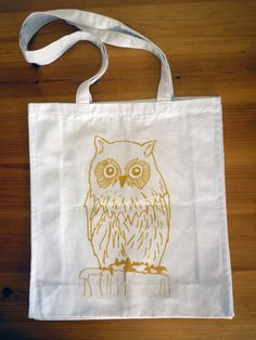 Owl - 100% Heavy Weight Cotton Tote Bag - Illustrated Shopper - Shopping Bag, Canvas Bag