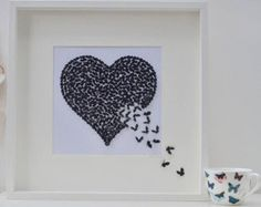 Black Butterfly Heart Picture by Inkywool on Etsy