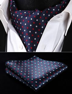 RD213VS Navy Blue Polka Dot Men Silk Cravat Scarves Ascot Tie Handkerchief Set