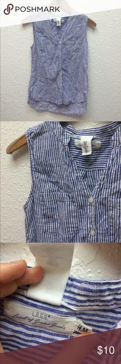 H&M LOGG striped blue button-up tank Excellent used condition. Lovely French blue & white colors with button up detail. Says US 4 but fits like XS/S. H&M Tops Tank Tops