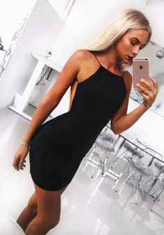 Sexy black backless dress | Pin: Heatonminded