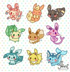 All my Eeveelutions are all done! Cute Kawaii Drawings, Kawaii Doodles, Cute Doodles, Cute Animal Drawings, Kawaii Art, Pokemon Fan Art, Fotos Do Pokemon, Pikachu Art, Cute Pokemon Wallpaper