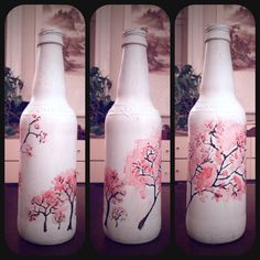 DIY painted bottle, watercolor cherry blossoms made during 365-day challenge y2k13