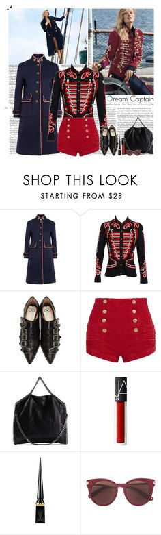 """""""Dream Captain"""" by helena99 ❤ liked on Polyvore featuring Gucci, Alexander McQueen, Pierre Balmain, STELLA McCARTNEY, Christian Louboutin and Salvatore Ferragamo"""