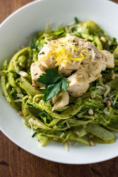 Pesto Zoodles with Chicken - Bound By Food Low Carb Recipes, New Recipes, Dinner Recipes, Cooking Recipes, Healthy Recipes, Veggie Recipes, Summer Recipes, Healthy Meals, Dinner Ideas