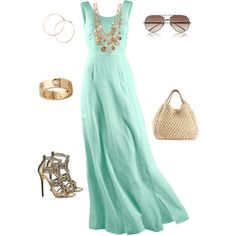 """""""Soft Hemlock Green Maxi with Gold Rope Accessories"""" by style-inspiration-and-design on Polyvore"""