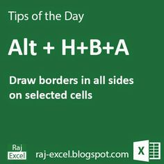 Microsoft Excel Short Cut Keys: Alt + H+B+A