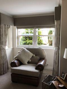 Bay Window Curtains, Grey Curtains, Pelmets, Made To Measure Curtains, Curtain Ideas, Roman Blinds, Soft Furnishings, Beautiful Homes, Amanda