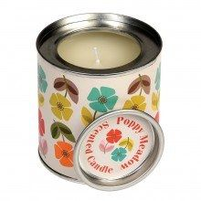 Floral Scented Candle in a Mid Century Poppy Tin