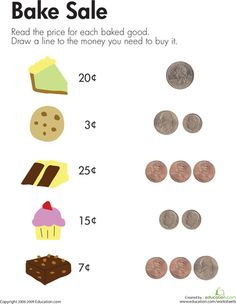 Worksheets: Counting Coins at the Bake Sale