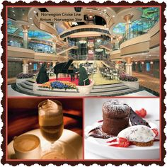 Norwegian Cruise Line - Atrium on the Norwegian Star!   Atrium Cafe & Bar  For that double, vanilla, extra hot latte with extra foam, the Java Café is at your service with a wide variety of specialty coffees, teas, pastries and cookies.  #CruiseLikeaNorwgian #Coffee