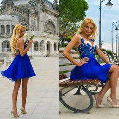 #mademoiselle #atelier #dress #blue #lace #handmade