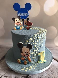 ▷ ideas for a Mickey Mouse cake for die-hard Disney fans - one tier cake, covered with dark grey buttercream, yellow fondant stars, mickey mouse birthday cake - Mickey Mouse Cake Decorations, Cake Pops Mickey Mouse, Bolo Mickey Baby, Mickey Mouse Birthday Cake, Mickey Mouse Baby Shower, Mickey Cakes, Baby Birthday Cakes, 2nd Birthday, Pastel Mickey