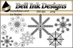 There are 13 images in this download.  All images are black and white, 300 dpi and in png format.6 Snowflakes7 Ice SkatesPersonal, classroom, and commercial use ok.  Please see TOU upon purchase.